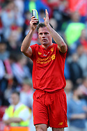 Jamie Carragher of Liverpool legends team shows his appreciation to the fans at the end of the game. Liverpool Legends  v Real Madrid Legends, Charity match for the LFC Foundation at the Anfield stadium in Liverpool, Merseyside on Saturday 25th March 2017.<br /> pic by Chris Stading, Andrew Orchard sports photography.