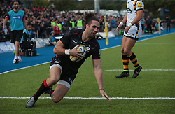 October 9, 2016 - Barnet, England, United Kingdom - Saracens Mike Ellery  goes over for his Try during Aviva Premiership match between Saracens and Wasps at Allianz Park on 9th October 2016  in Barnet, England. (Credit Image: © Kieran Galvin/NurPhoto via ZUMA Press)