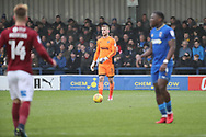 AFC Wimbledon goalkeeper George Long (1) dribbling and about to pass the ball upfield during the EFL Sky Bet League 1 match between AFC Wimbledon and Northampton Town at the Cherry Red Records Stadium, Kingston, England on 10 February 2018. Picture by Matthew Redman.