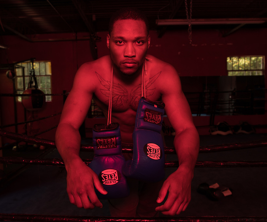"""Octavious Bowens, 22, the classic city light heavyweight champion, from Athens, Georgia, poses at Keppner Boxing in Athens, Georgia, Monday, November 14, 2016. """"I'm fighting to change what my family is accustomed to, they have to work until 66 and can never really live."""" Bowens said."""