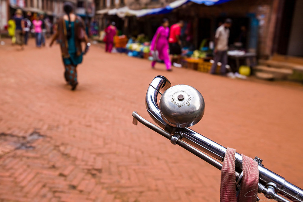 Close-up of a metal bicycle bell on a street in the market, Bhaktapur, Kathmandu, Nepal