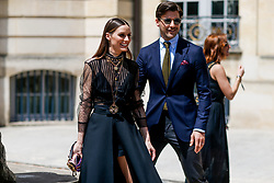 Street style, Olivia Palermo and Johannes Huebl arriving at Dior Fall-Winter 2018-2019 Haute Couture show held at Musee Rodin, in Paris, France, on July 2nd, 2018. Photo by Marie-Paola Bertrand-Hillion/ABACAPRESS.COM