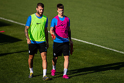 Luka Zahovic and Miha Blazic during practice session of Slovenian national football team in national football center in Brdo, 2nd of September, 2019, NNC Brdo. Photo by Grega Valancic / Sportida