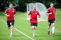 Bristol City's Steven Davies, Louis Carey and Ryan Taylor - Photo mandatory by-line: Dougie Allward/JMP - Tel: Mobile: 07966 386802 27/06/2013 - SPORT - FOOTBALL - Bristol -  Bristol City - Pre Season Training - Npower League One