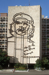 Interior Ministry building; in Revolution Square in Havana; Cuba; with portrait of Che Guevara painted on its side,