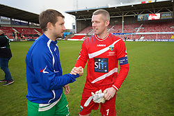 WREXHAM, WALES - Monday, May 2, 2016: The New Saints' goalkeeper Paul Harrison celebrates with Christian Sergeant after the 2-0 victory over Airbus UK Broughton during the 129th Welsh Cup Final at the Racecourse Ground. (Pic by David Rawcliffe/Propaganda)