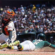 June 27 2021 San Francisco CA, U.S.A. Oakland Athletics second baseman Tony Kemp (5) scores after San Francisco Giants catcher Buster Posey (28) miss the tag at home during the MLB game between the Oakland Athletics and the San Francisco Giants, Oakland won 6-2 at Oracle Park San Francisco Calif. Thurman James / CSM