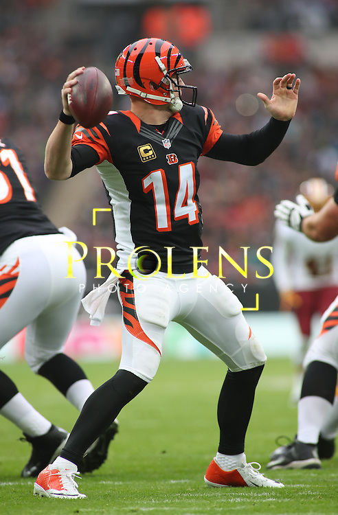 NFL International Series 2016 Houston Texans @ Oakland Raiders   30th OCT 2016<br /> <br /> Cincinnati Bengals Quarterback Andy Dalton (14)  during game 17 of the NFL International Series between the Houston Texans and Oakland Raiders, From Wembley Stadium, London.<br /> <br /> Pic Micthell Gunn / PLPA? ProLens Photo Agency.<br /> Sunday 30 October 2016