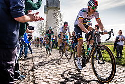 Peloton with Peter SAGAN from Slovakia of BORA - hansgrohe at the 4 star cobblestone sector 17 from Hornaing to Wandignies during the 2018 Paris-Roubaix race, France, 8 April 2018, Photo by Pim Nijland / PelotonPhotos.com   All photos usage must carry mandatory copyright credit (Peloton Photos   Pim Nijland)