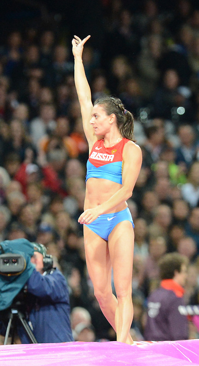 Russia's Yelena Isibyeva competes in the women's pole Vault at the London Olympics 6 August 2012
