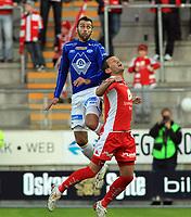 Fotball <br /> Tippeligaen<br /> 05.04.2010 <br /> Molde v Brann 3-2<br /> Aker stadion<br /> Magne hoseth - molde<br /> Eirik bakke - brann<br /> Foto:Richard brevik Digitalsport