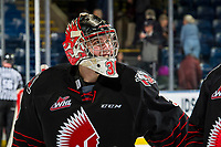 KELOWNA, CANADA - JANUARY 16: Brodan Salmond #30 of the Moose Jaw Warriors looks to the jumbotron for the final score after winning his first game against the Kelowna Rockets on January 16, 2019 at Prospera Place in Kelowna, British Columbia, Canada.  (Photo by Marissa Baecker/Shoot the Breeze)