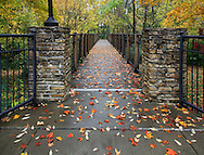 A Foot Bridge On A Rainy Day During Autumn In The Park, Sharon Woods, Southwestern Ohio, USA