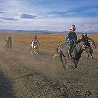 Young riders ride their horses bareback in a traditional naadam race in the Darhad Valley of northern Mongolia.