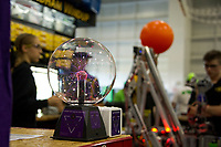 """""""Potential Energy"""" at the Litchfield Team station during the Governor's Cup FirstNH Robotics Competition on Saturday at PSU/All Well North complex.  (Karen Bobotas/for the Laconia Daily Sun)"""