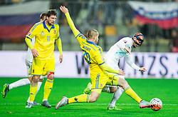 Yaroslav Rakitskiy (UKR) vs Miso Brecko (SLO) during the UEFA EURO 2016 Play-off for Final Tournament, Second leg between Slovenia and Ukraine, on November 17, 2015 in Stadium Ljudski vrt, Maribor, Slovenia. Photo by Vid Ponikvar / Sportida
