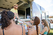 Attendees at the Red Bull  Breakfast Club at the Firefly Music Festival in Dover, DE on June 20, 2014.