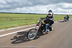 Sean Duggan riding his 1936 Harley-Davidson Knucklehead chopper during Stage 8 of the Motorcycle Cannonball Cross-Country Endurance Run, which on this day ran from Junction City, KS to Burlington, CO., USA. Saturday, September 13, 2014.  Photography ©2014 Michael Lichter.