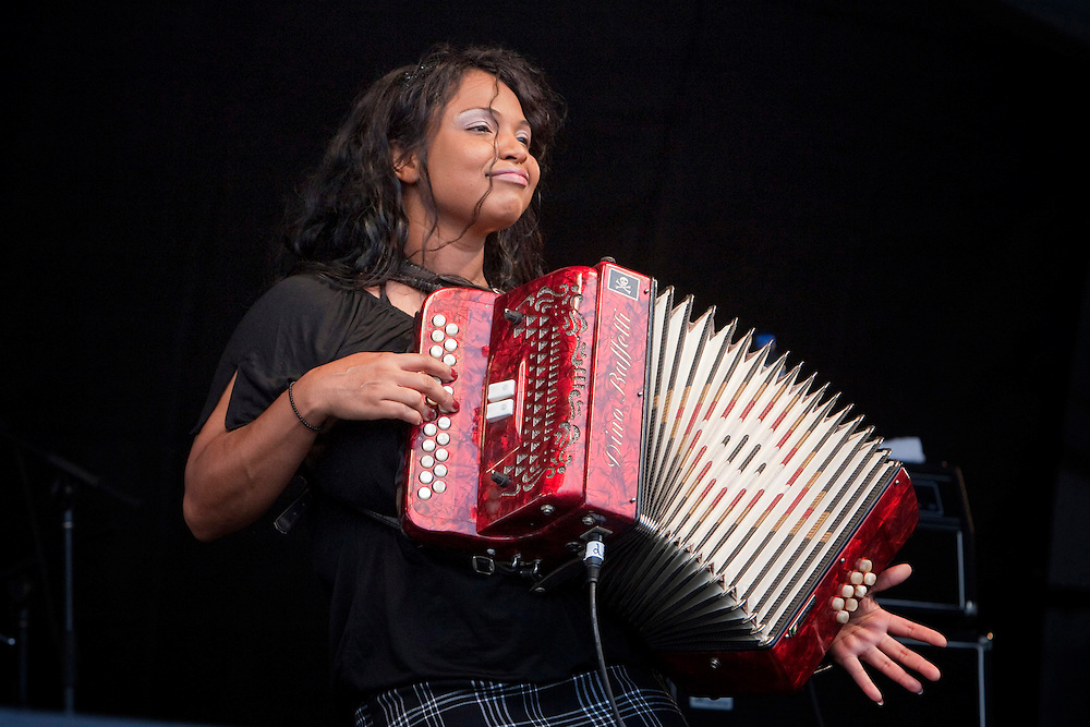 Louisiana born zydeco musician Rosie Ledet of Rosie Ledet and the Zydeco Playboys performing on the Fais Do-Do stage at the New Orleans Jazz and Heritage Festival at the New Orleans Fair Grounds Race Course in New Orleans, Louisiana, USA, 30 April 2009.