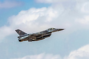 """Polish Air Force General Dynamics F-16 Block 52+ in flight.  Photographed at the  """"Blue-Flag"""" 2017, an international aerial training exercise hosted by the Israeli Air Force (IAF) at Ouvda airfield, Israel. November 2017"""