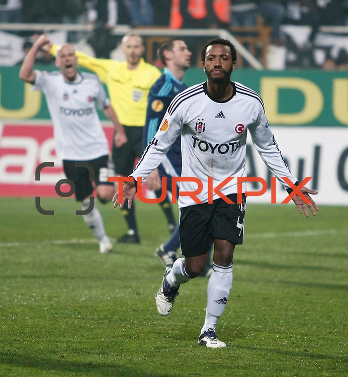 Besiktas's Manuel Fernandes celebrate his goal during their UEFA Europa League Group Stage Group E soccer match Besiktas between Stoke City at Inonu stadium in Istanbul Turkey on Wednesday December 14, 2011. Photo by TURKPIX