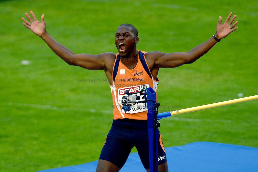 10-08-2006 ATLETIEK: EUROPEES KAMPIOENSSCHAP: GOTHENBORG <br /> Eugene Martineau ging bij het hoogspringen over 2,06, hetgeen een persoonlijk record betekende.<br /> ©2006-WWW.FOTOHOOGENDOORN.NL