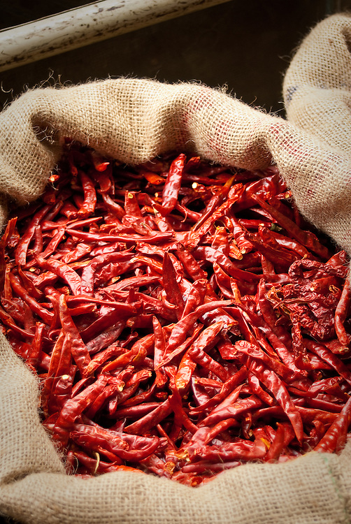 Dried chillies for sale at street side stall in Little India, Singapore
