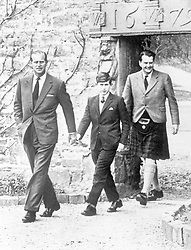 File photo dated 01/05/62 of Prince Charles with his father the Duke of Edinburgh (left) and Captain Iain Tennant, Chairman of the Gordonstoun Board of Governors, arriving at Gordonstoun for the Prince's first day at the public school.