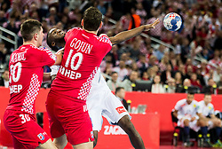 Luc Abalo of France vs Marko Mamic of Croatia and Jakov Gojun of Croatia during handball match between National teams of Croatia and France on Day 7 in Main Round of Men's EHF EURO 2018, on January 24, 2018 in Arena Zagreb, Zagreb, Croatia.  Photo by Vid Ponikvar / Sportida