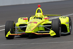 May 20, 2018 - Indianapolis, IN, U.S. - INDIANAPOLIS, IN - MAY 20: Simon Pagenaud, driver of the #22 Team Penske Chevrolet, pulls onto pit lane after making a practice run during Indianapolis 500 pole day on May 20, 2018, at the Indianapolis Motor Speedway Road Course in Indianapolis, Indiana. (Photo by Adam Lacy/Icon Sportswire) (Credit Image: © Adam Lacy/Icon SMI via ZUMA Press)