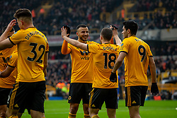 January 19, 2019 - Wolverhampton, England, United Kingdom - Diogo Jota of Wolverhampton Wanderers celebrates wit Romain Saiss of Wolverhampton Wanderers  during the Premier League match between Wolverhampton Wanderers and Leicester City at Molineux, Wolverhampton, UK. On Saturday 19th January 2019. (Credit Image: © Mark Fletcher/NurPhoto via ZUMA Press)