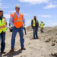 North American Coal, Bisti Fuels and Navajo Transitional Energy Company representatives tour the Navajo Mine near Farmington Wednesday.