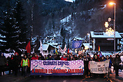 The second day of the Strike WEF march to Davos on 20th of January 2020 in Klosters, Switzerland. Arrival in Klosters. The march started in Schiers and walked the 24 kilomers to Klosters.  The aim is to finish in Davos with a public meeting in the town on the day the WEF begins. The march is a three day protest against the World Economic Forum meeting in Davos. The activists want climate justice and think that The WEF is for the worlds richest and political elite only.