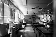 An elementary school classroom remains empty after pandemic shutdown.
