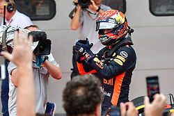 SEPANG, Oct. 1, 2017  Red Bull driver Max Verstappen of the Netherlands celebrates after the Formula One Malaysia Grand Prix at the Sepang Circuit in Malaysia, on Oct. 1, 2017. Max Verstappen claimed the title of the event. (Credit Image: © Chong Voon Chung/Xinhua via ZUMA Wire)