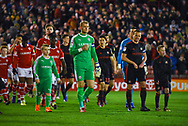 Adam Davies of Barnsley (1) and Lee Cattermole of Sunderland (6) lead out the teams during the EFL Sky Bet League 1 match between Barnsley and Sunderland at Oakwell, Barnsley, England on 12 March 2019.