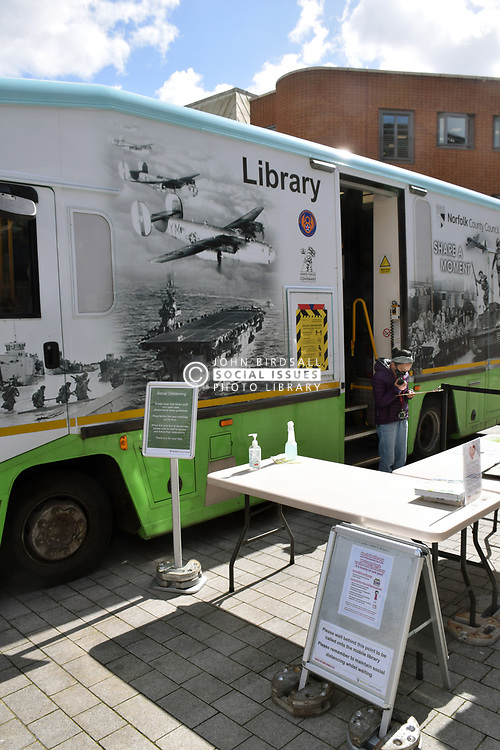 Mobile library outside The Forum (where main Millennium Library is housed) during Coronavirus lockdown so lenders are still able to return and borrow a limited number of books, Norwich UK March 2021