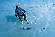 Spring ice fishing in the Yukon.