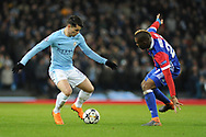 Manchester City Midfielder, Brahim Díaz (55) and FC Basel Midfielder, Geoffroy Serey Die (20)  during the Champions League match between Manchester City and FC Basel at the Etihad Stadium, Manchester, England on 7 March 2018. Picture by Mark Pollitt.