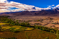 Leh Valley near Thiksey, Ladakh, Jammu and Kashmir State, India. The green area is the fertile area next to the Indus River.