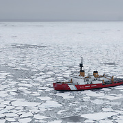 The icebreaker Polar Sea in the arctic pack ice of the Beaufort Sea.