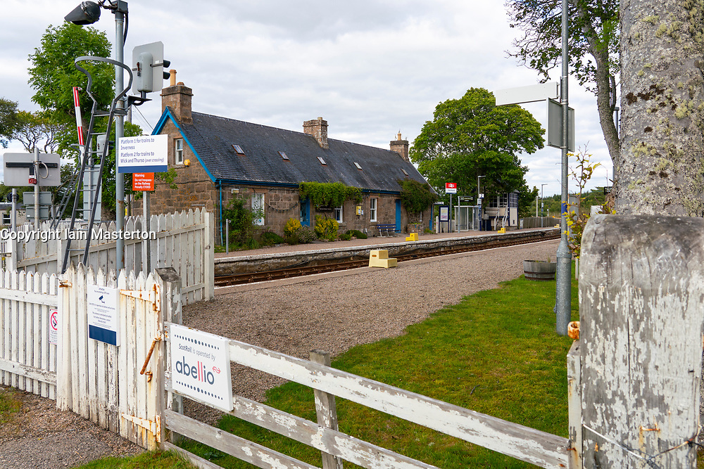 Railway station at Forsinard in Sutherland, Highland region,  Scotland UK