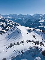 Aerial View of Typical Swiss Mountain Scene in Winter in Uri, Switzerland