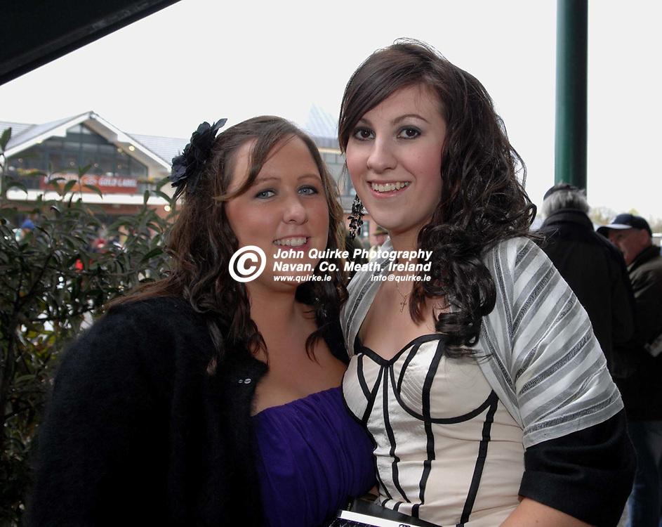 13-04-09. Fairyhouse Races - The Powers Irish Whiskey Irish Grand National.<br /> Emma McLoughlin (Left), Siodhna Maguire both from Dunboyne.<br /> Photo: John Quirke / www.quirke.ie<br /> ©John Quirke Photography, Unit 17, Blackcastle Shopping Cte.<br /> Navan. Co. Meath. 046-9079044 / 087-2579454.