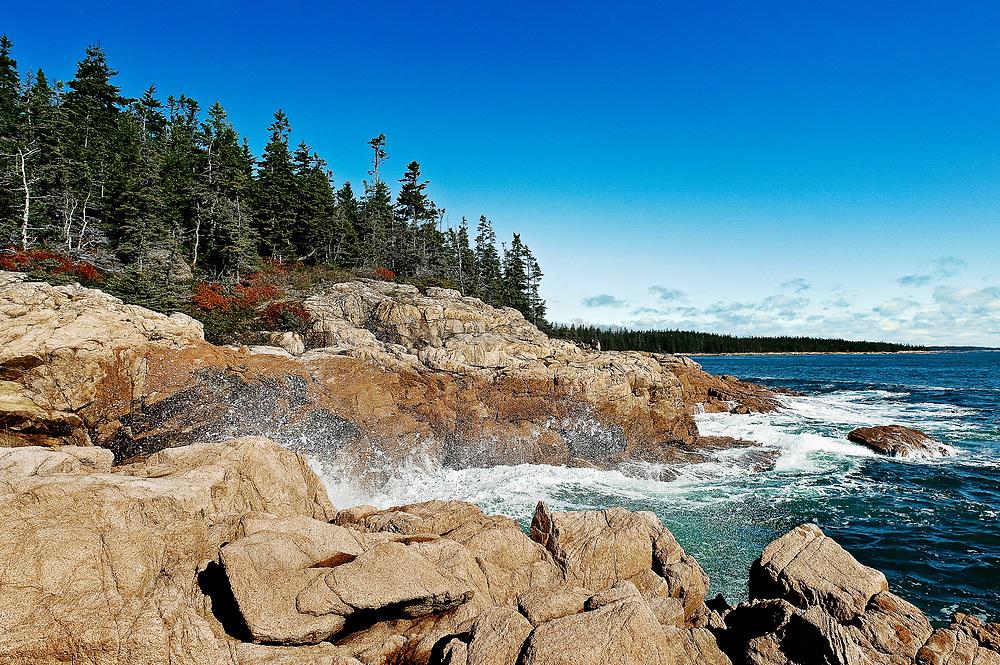 Rocky coastline, Acadia National Park, Mount Desert Island, Maine, ME, USA