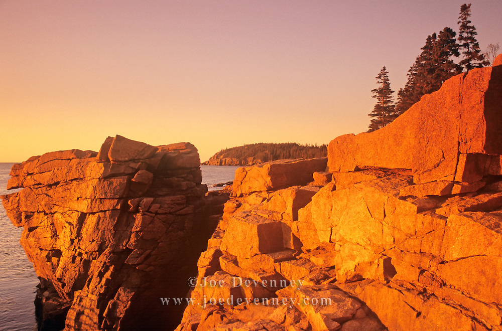 Rocky coast at sunrise. Thunder Hole along the Ocean Drive. Acadia National Park. Mount Desert Island, Maine