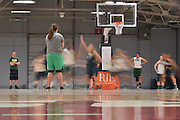 April 3, 2016; Indianapolis, Ind.; Head coach Ryan McCarthy and assistant coach Shaina Afoa watch the team run drills during their practice session at Harvest Pavilion on the Indiana State Fair grounds.