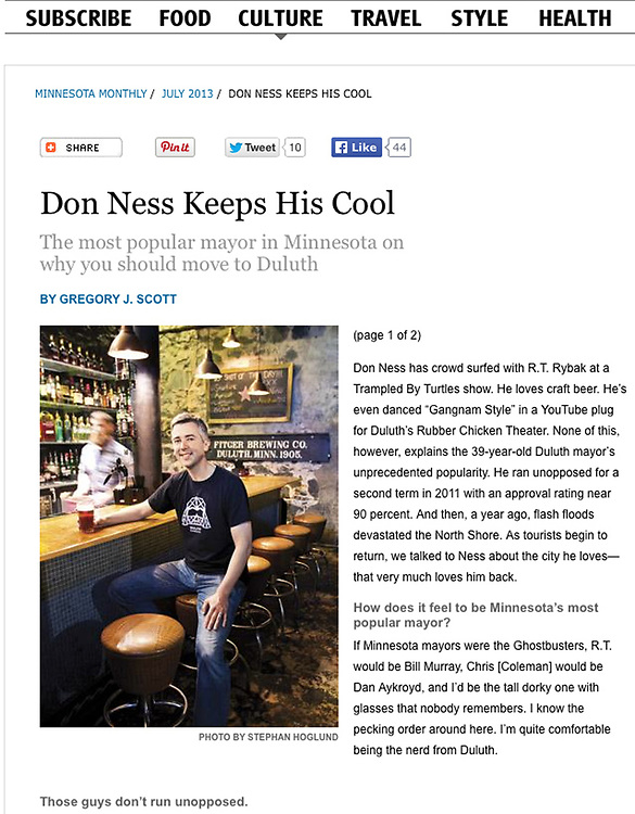 Minnesota Monthly Photoshoot with Duluth Mayor Don Ness at the Brew House. Article Don Ness Keeps His Cool.