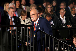 Rudolph Giuliani walks to his seat before the start of the second debate between the Republican and Democratic presidential candidates on Sunday, October 9, 2016 at Washington University in St. Louis, Mo. Photo by Christian Gooden/St. Louis Post-Dispatch/TNS/ABACAPRESS.COM
