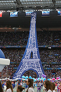 A replica of theThe Eiffel Tower in the opening ceremony during the Group A Euro 2016 match between France and Romania at the Stade de France, Saint-Denis, Paris, France on 10 June 2016. Photo by Phil Duncan.